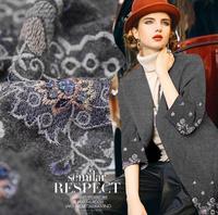 Talão bordado pedaço de Tecido de lã tweed de lã Casaco Roupas Materiais de Costura costura materiais saia 5 metros H1022