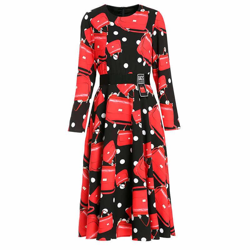 Svoryxiu Runway Outono Inverno Saco da Forma das Mulheres Vestido de Manga Longa Polka Dot Impresso Na Altura Do Joelho Vestidos de Comprimento Vestdios