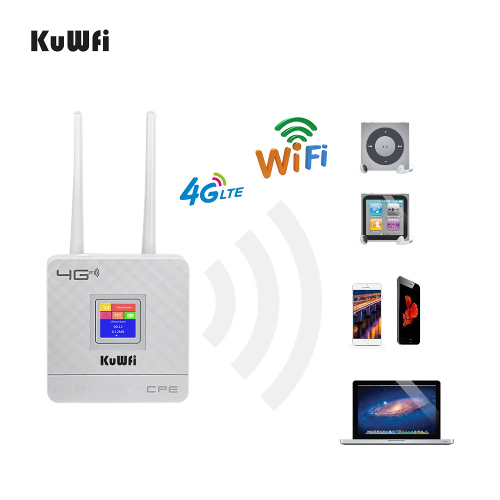 KuWfi 300Mbps Wireless CPE 4G LTE Wifi Router FDD TDD LTE WCDMA GSM Global Unlock External Antennas SIM Card Slot WAN/LAN Port
