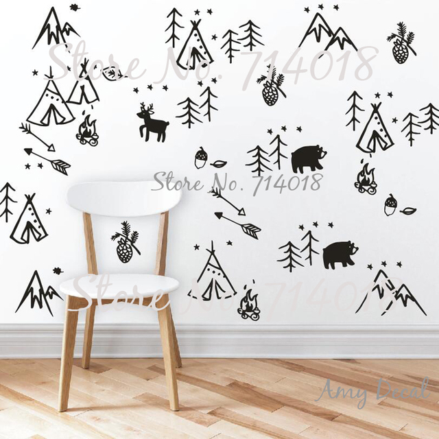 Woodland Doodles Wall Decals Forest Tree Animals Arrows Stickers For Kids Rooms Baby Nursery Decal