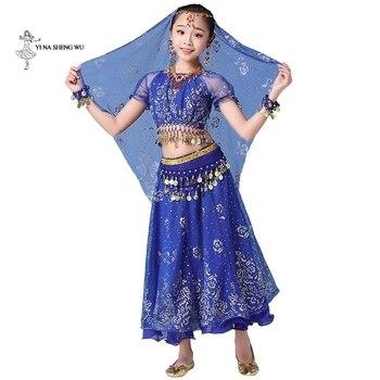 Traje de danza del vientre para niña vestido de danza India bollywood bellydance 8 unids/set Performance kids con accesorios de monedas