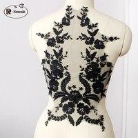Французская кружевная ткань черная слоновая кость белый хлопок вышитая аппликация высокого класса свадебное платье аксессуары ручной раб...