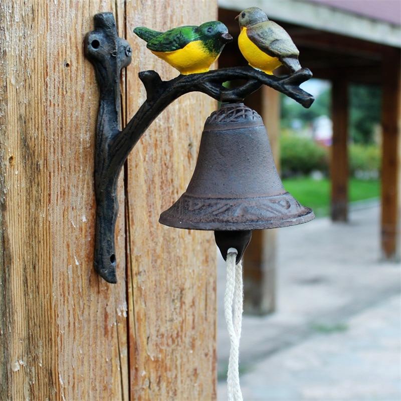 Чугун висит птица Здравствуйте Bell ужин колокол ручная роспись Изделия из металла настенный колокол на дверь Детская украшения ретро - 3
