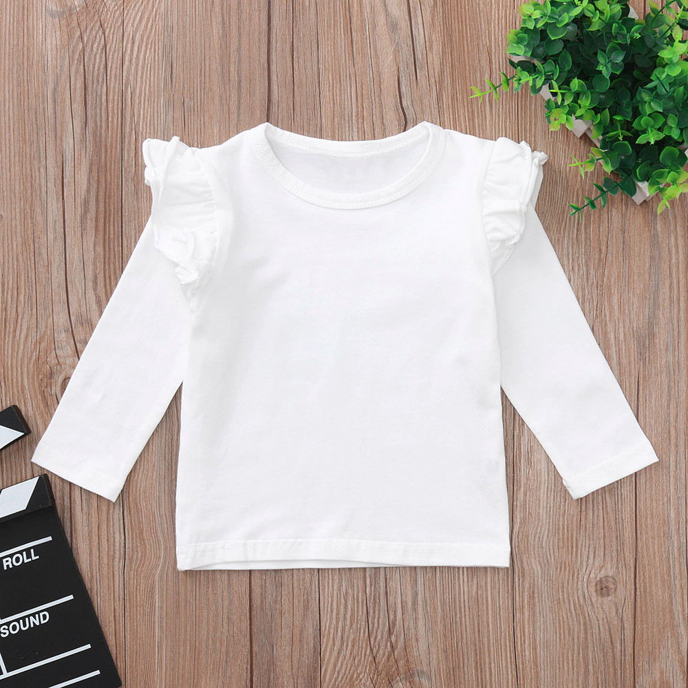 Toddler Baby Girls Solid Long Sleeve Ruffles Candy Color T Shirts Tops Clothes