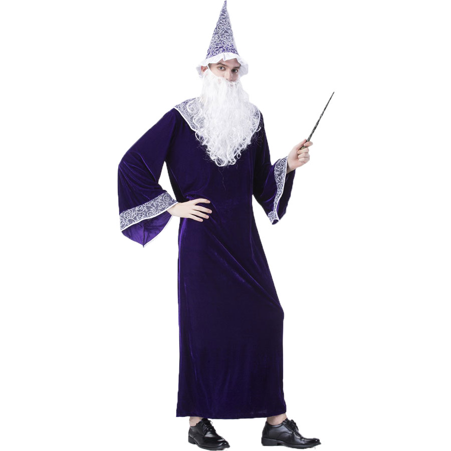 Umorden Purim Carnival Party Halloween Wizard Costumes Magician Costume for Men Adult Fancy Cosplay Robe Gown