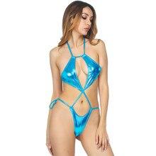 sexy bikini 2019 Patent leather halter Strings overlapping Backless Sun bath bikinis swimwear women one piece swimsuit biquini