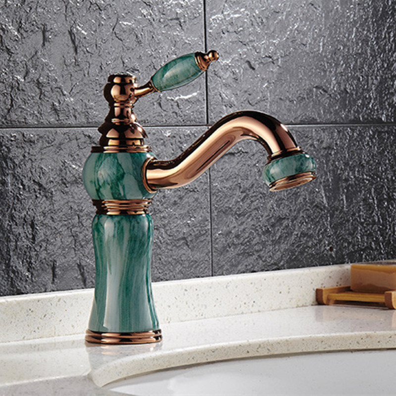 Free Shipping Luxury Rose gold bathroom mixer tap By solid brass basin sink mixer tap with single hole golden stone bathroom tap free shipping solid brass bathroom lavatory sink pop up drain with without overflow gold bathroom accessories