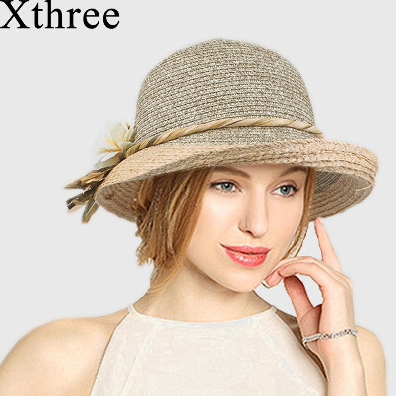Xthree Good Quality  Summer Hat Women Raffia Straw Cap Ladies Big Brim Sun Hat  Hat Forgirlbeach Hat