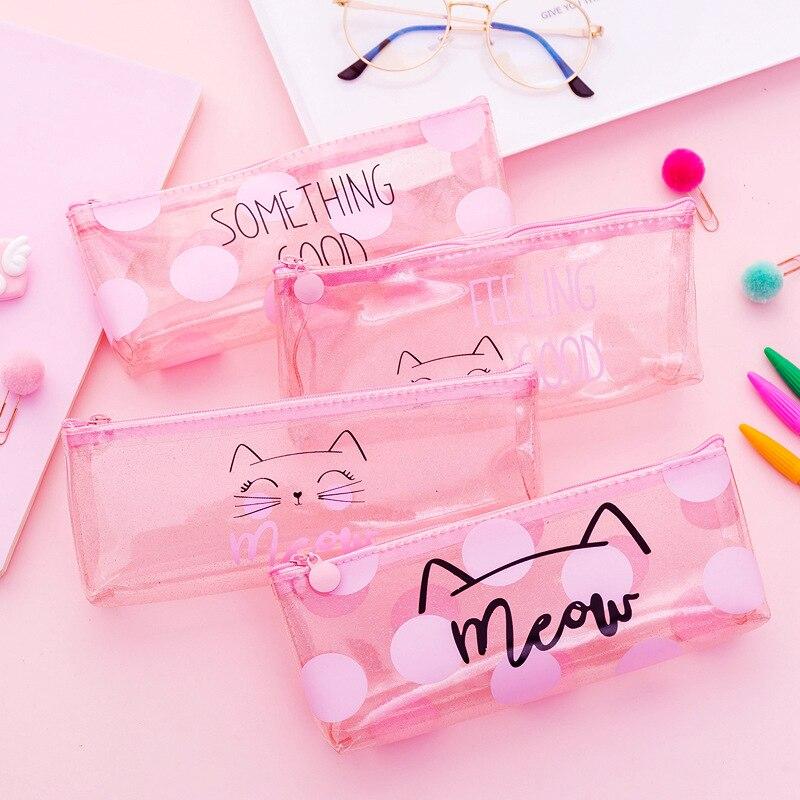 Transparent Pink Cat Pencil Case Cute Unicorn Leopard Pen Bag Staionery Pouch Gift Pencilcase School Supplies Zakka