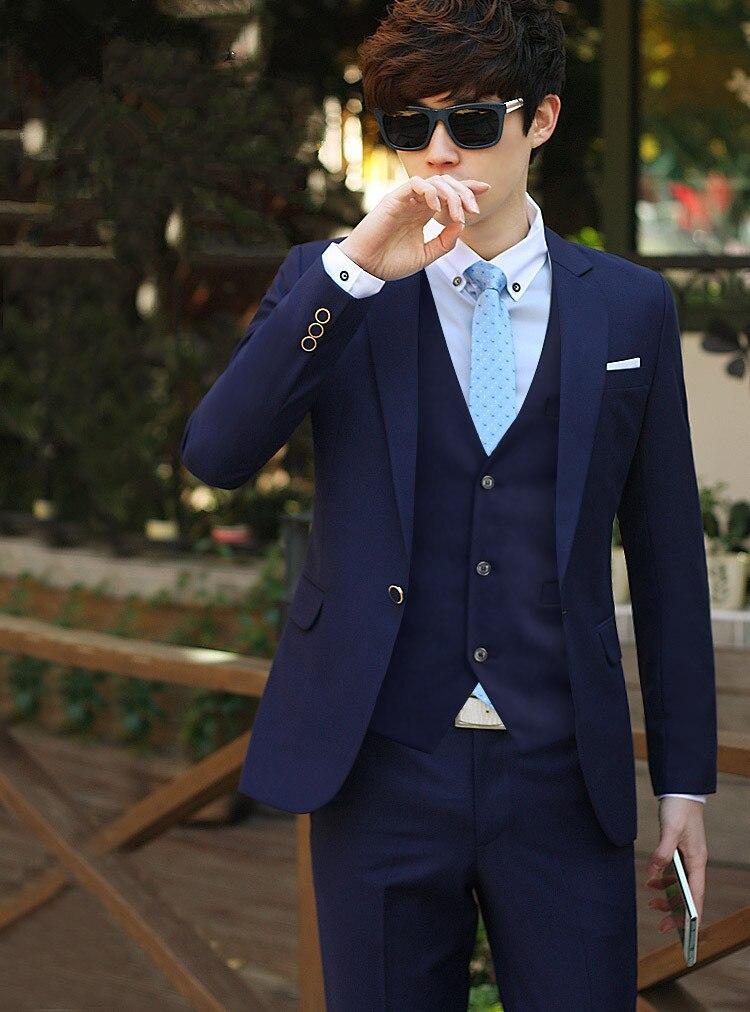 ... boda para hombres Slim Fit Formal Novio vestido de fiesta Esmoquin 3  piezas chaqueta Blazer masculino + pantalones + chaleco Terno. 34. Tabla de  tamaño ... b543ed2d354