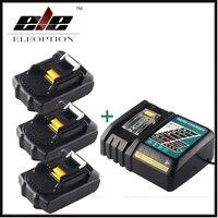 3 шт. ELEOPTION 18 В 2000 мАч литий ионная Мощность инструмент Батарея для Makita 194205 3 194309 1 bl1815 + 1x 7.2 В 18 В Зарядное устройство