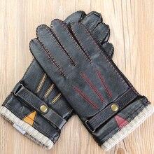 Nueva otoño guantes de cuero para hombres de lujo de alta calidad de marca de moda de piel de oveja guantes de piel calientes hombres guante de conducción envío gratis