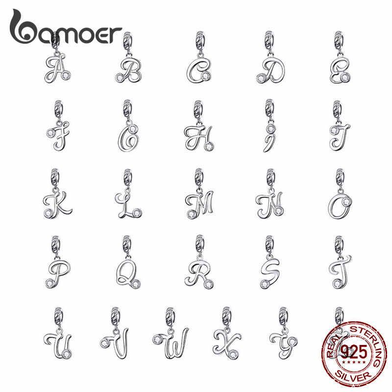 BAMOER 26 Língua Manuscrita Letras do alfabeto Pingente 925 Prata Esterlina Pingentes Charme para Pulseiras e Colar SCC1183