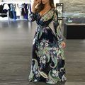 EIFFTER Vintage Floral Dress 2016 New Casual V-neck Long Sleeve High Waist Sexy Maxi Dresses Oversize Style Elegan Party Dress