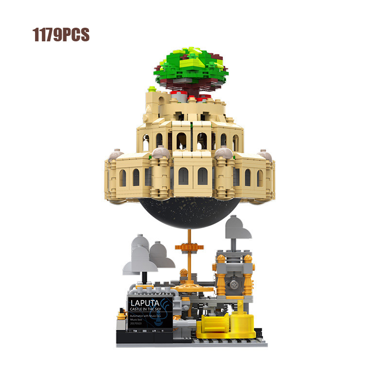 Hot Japan Anime <font><b>castle</b></font> <font><b>in</b></font> <font><b>the</b></font> <font><b>sky</b></font> animation scene MOC building block model bricks toys music box collection for children gifts image