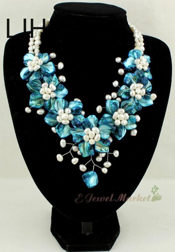 LJHMY nouvelle coquille de vadrouille bleue FW perle fleur collier femmes de mariage collier cadeau
