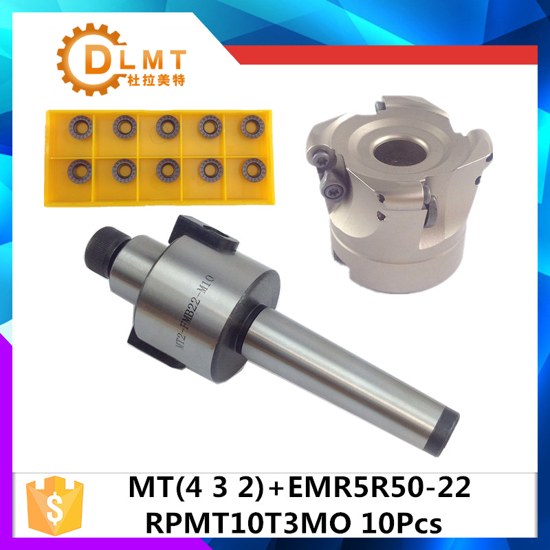 MT2 FMB22 M10 MT3 FMB22 M12 MT4 FMB22 Shank EMR5R 50-22 4T Face Milling CNC Cutter + 10pcs RPMT10T3 Inserts For Power Tool