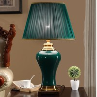 China Green Ceramic classical table lamp Desk lamp Palace Princess Wedding Villa Club Art Hotel Home liStore Home lighting G582