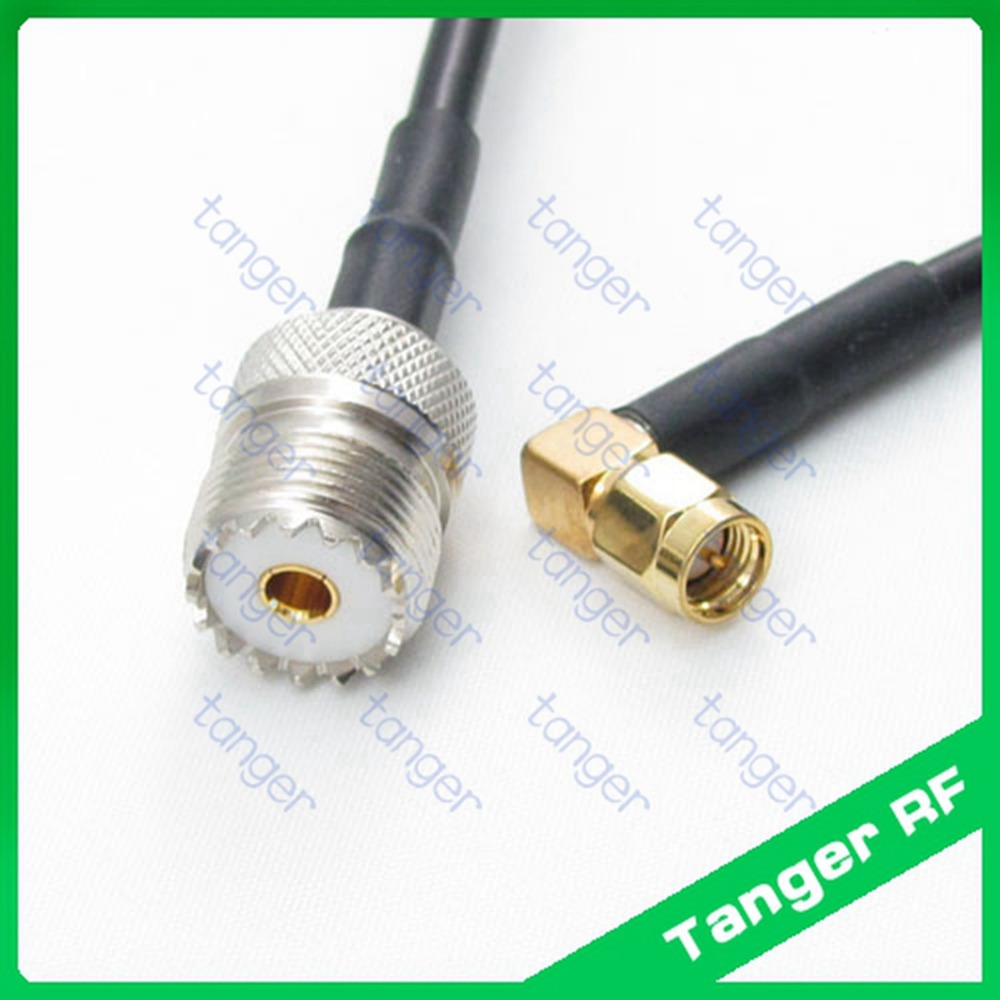 Hot sale UHF female jack SL16 SO239 to SMA male plug right angle RF RG58 Pigtail Jumper Coaxial Cable 3feet 100cm High Quality rp sma female to y type 2x ip 9 ms156 male splitter combiner cable pigtail rg316 one sma point 2 ms156 connector for lte yota
