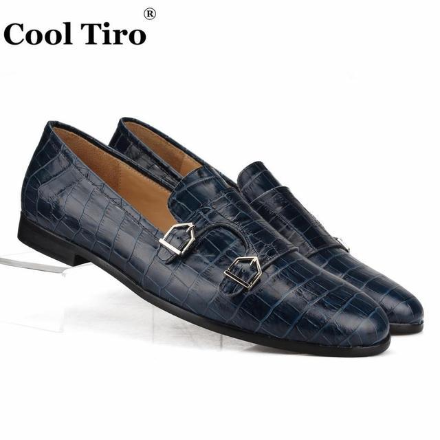 2b48c569fcbd LEGAL TIRO Crocodilo impressão Dupla-Monge Mocassins Homens Mocassins Chinelos  Sapatos Homem Flats Casual Sapatos