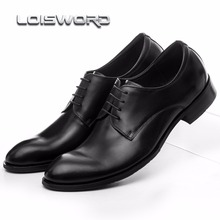 LOISWORD Brown tan / Black / brown dress shoes mens casual business shoes genuine leather office shoes pointed toe oxfords shoes