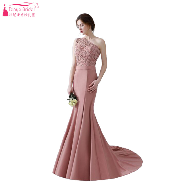 Dusty Rose Mermaid Prom Dresses 2018 One Shoulder Candy Color Long Evening Formal Gowns Vestidos De
