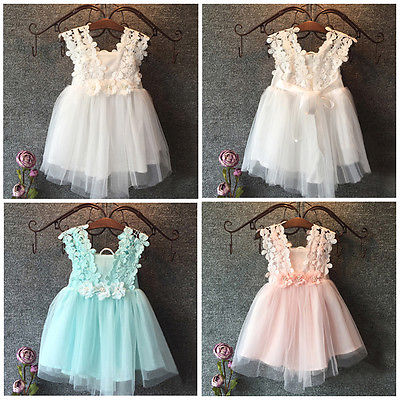 2018 Fashion Baby Girl Dress Princess Lace Tulle Flower Formal Party Fancy Backless Gown 2-7Y