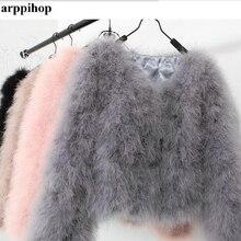 Harppihop 13 цветов модное сексуальное женское пальто из страусиной шерсти с мехом индейки пуховое короткое пальто размера плюс зимняя Праздничная куртка с длинным рукавом