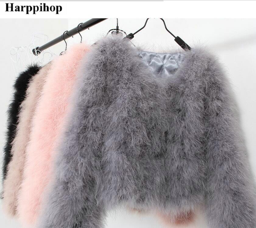 Harppihop 13 цветов модные, пикантные страуса шерсть Турция Мех животных для женщин пальто перо Короткие плюс размеры зимняя куртка фестиваль