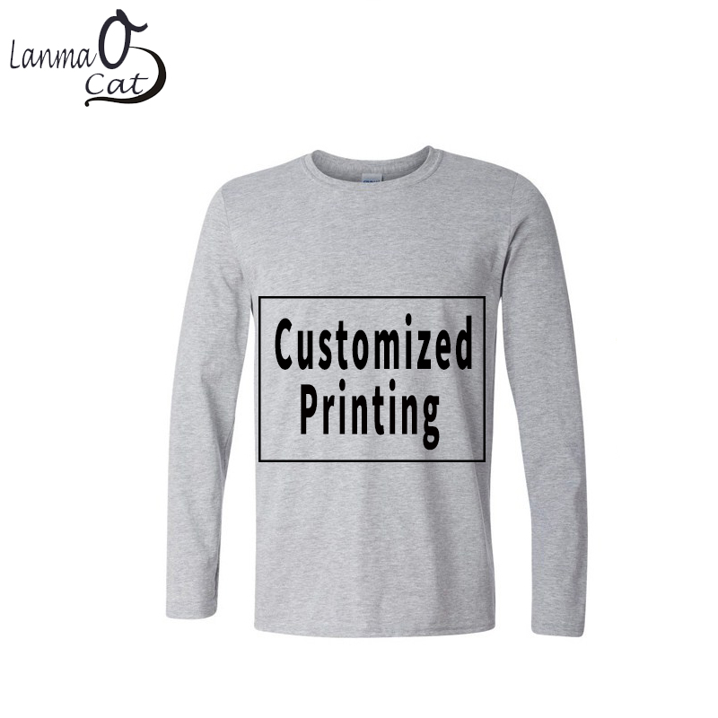 Lanmaocat Long Sleeve Cotton Private Male   T     Shirts   Personality Photo Picture Logo Printed Custom Printing   Shirts   Free Shipping