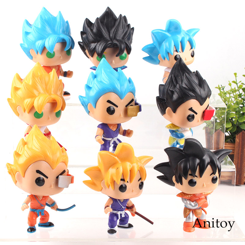 Dragon Ball Z Action Figures Toys Son Goku Super Saiyan God Vegeta Figure Cute Mini Dolls PVC Collection Model Toy 9pcs/set