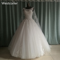 Princess Bling Luxury Crystals White Wedding Dress With Real Picture Custom Made Vestido De Noiva Wesctorler