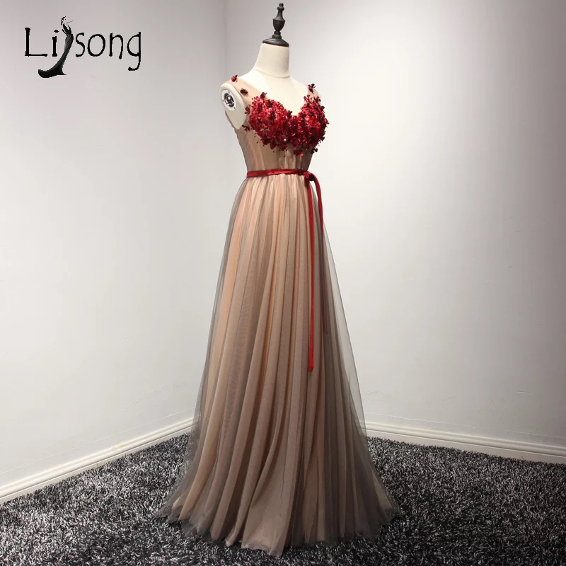 Red Appliques A line Two toned Prom Dresses Long Vintage Prom Maxi ...