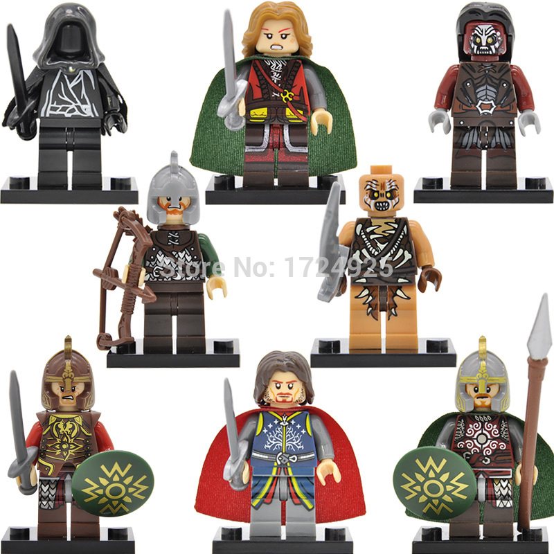 8pcs/set The Lord of the Rings Rohan King Eomer Theoden Uruk-Hais Archer Building Blocks Hobbit Gift Toys XH471-478 mosunx e5 mecall promotion 2400dpi led optical 6d usb wired gaming game mouse pro gamer computer mice for pc whoelsale