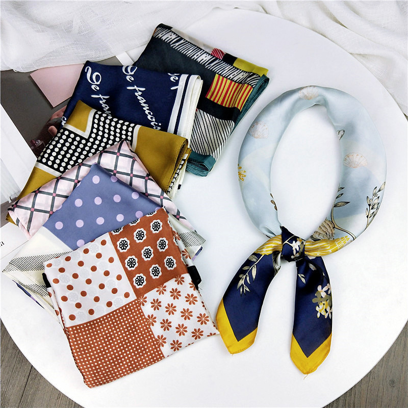 70*70cm New Design Print Silk Scarf For Womem Striped Hijab Shawl Brand Scarf Foulard Square Bandana Head Scarves Wraps