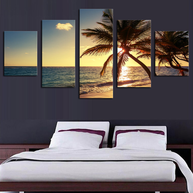 Dibingkai 5 Piece Pantai Pohon Kelapa Modern Home Wall Decor Canvas