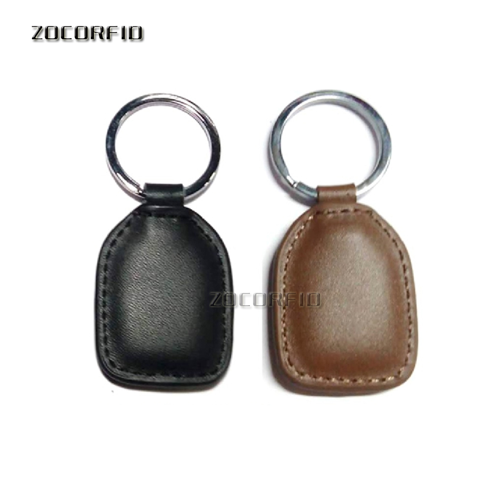 100pcs 125kHz RFID Leather Proximity ID Card Entry Lock Door Access Control System Time Attendance  Token Tag Keyfob Ring