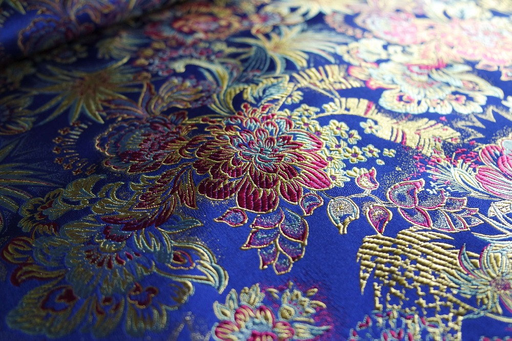 stof Saffierblauwe rug met paarse pioen en bladgoudpatroon nieuwe - Kunsten, ambachten en naaien