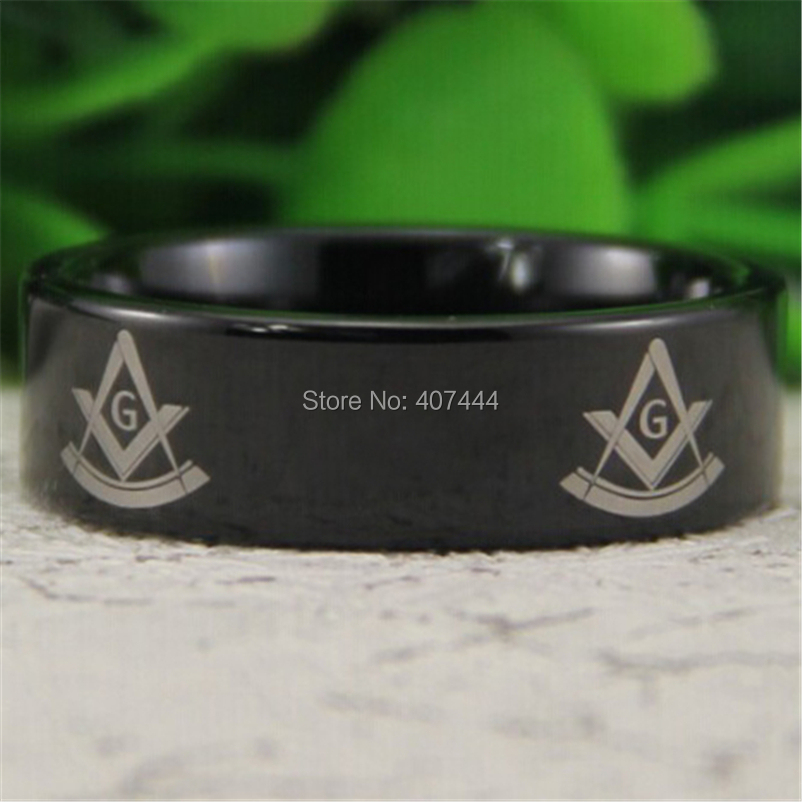 Free Shipping YGK JEWELRY Hot Sales 8MM Black Pipe Past Master Masonic Mason Men's Comfort Tungsten Wedding Ring