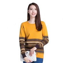 2015 New Fashion Cashmere Women Sweaters and Pullovers Women O Neck Computer Jacquard Pattern Long sleeve Knitted Sweater