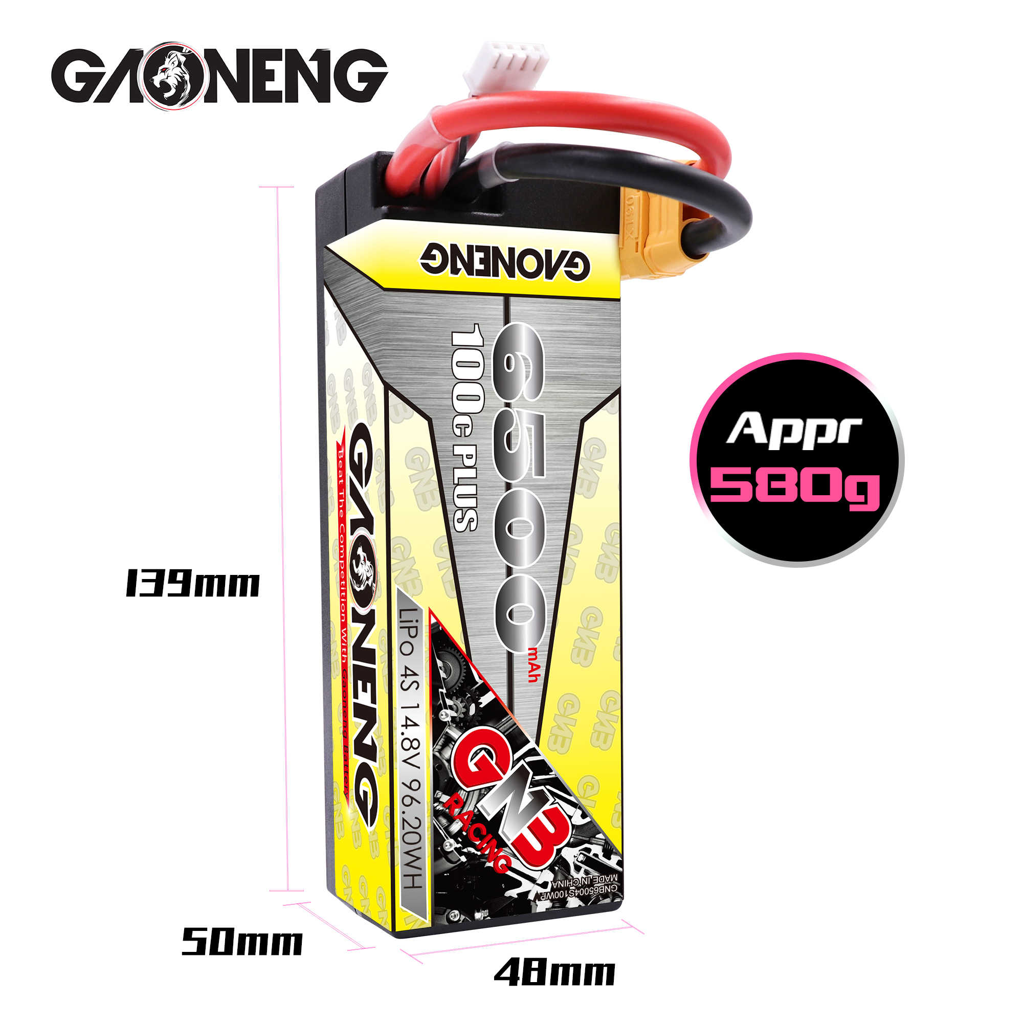 Gaoneng GNB 6500mAh 4S 14,8 V 100C/200C Hardcase batería LiPo XT90/XT60/decanos macho para las 1:8 1/8 RC coche cuatro fuera de la carretera coche de RC