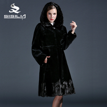 SISILIA 2016 New  ladies' Genuine mink fur coats,Real rabbit fur coats,Fashion slim with belt,Women natural black coats of fur