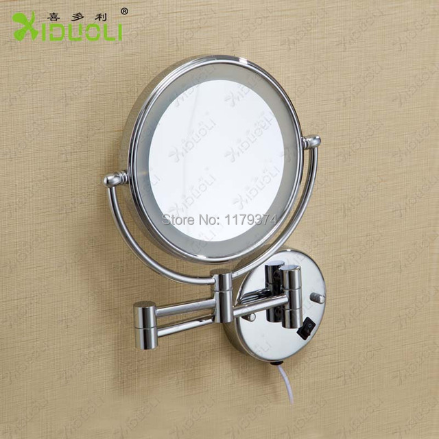 Led Double Faced Retractable Bathroom Mirror With Light Magnifying Wall Mount 8 Inch Makeup Espelhos