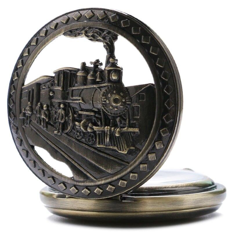 New Fashion Steam Train Pocket Watch Silver Railway Design Retro Quartz Watches Men Kid Gift 2018