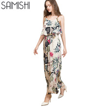 Saimishi Size M-2XL Women Spaghetti Strap Dress  Fashion Botanical Printed Elastic Waist  Beach Dress Sleeveless Cami Dress