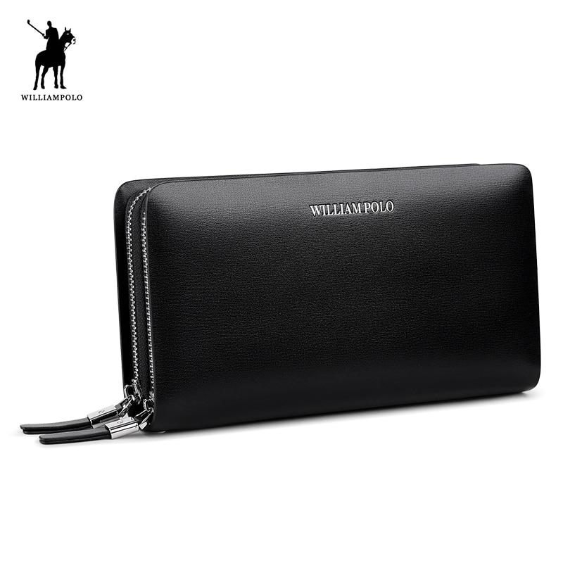 WILLIAMPOLO Men Wallet Genuine Leather Purse Fashion Casual Lonog Business Male Clutch Wallets Men's Handbags PL239