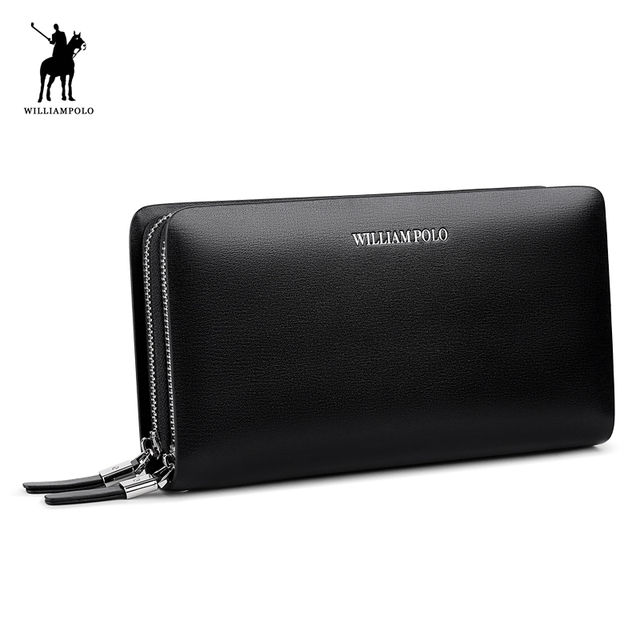 WILLIAMPOLO 2019 Men Wallet Genuine Leather Purse Fashion Casual Lonog Business Male Clutch Wallets Men's Handbags PL239