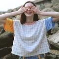 Harajuku Ocasional Flojo Del Verano de Las Mujeres T Camisa A Cuadros de Color A Juego Bordado Señora Camiseta de Manga Corta Top