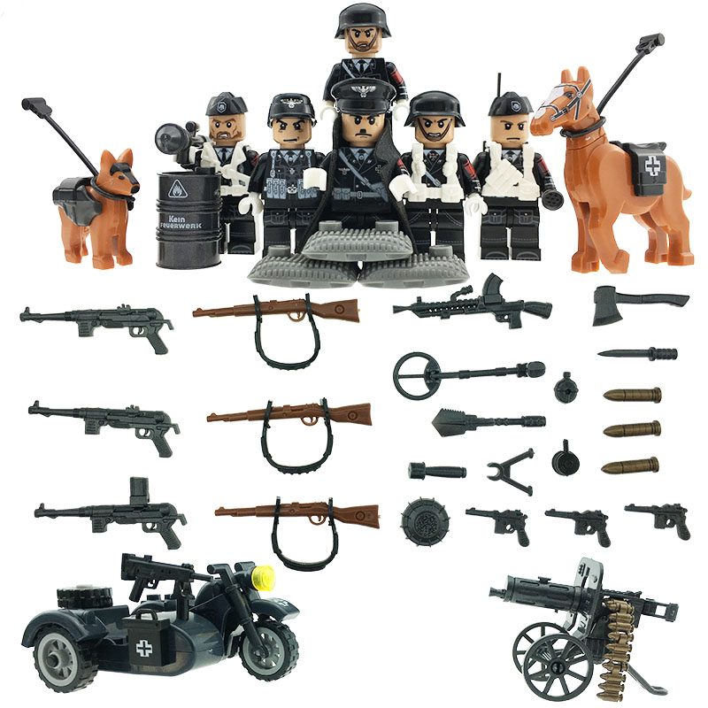 xinlexin World War 2 German Army Soldiers Motorized Infantry Army Building Blocks Military Mini Toy Compatible LegoINGlys dr tong world war 2 military chinese army mini soldiers figure with motorcycle horse brick building blocks bricks toys d71005