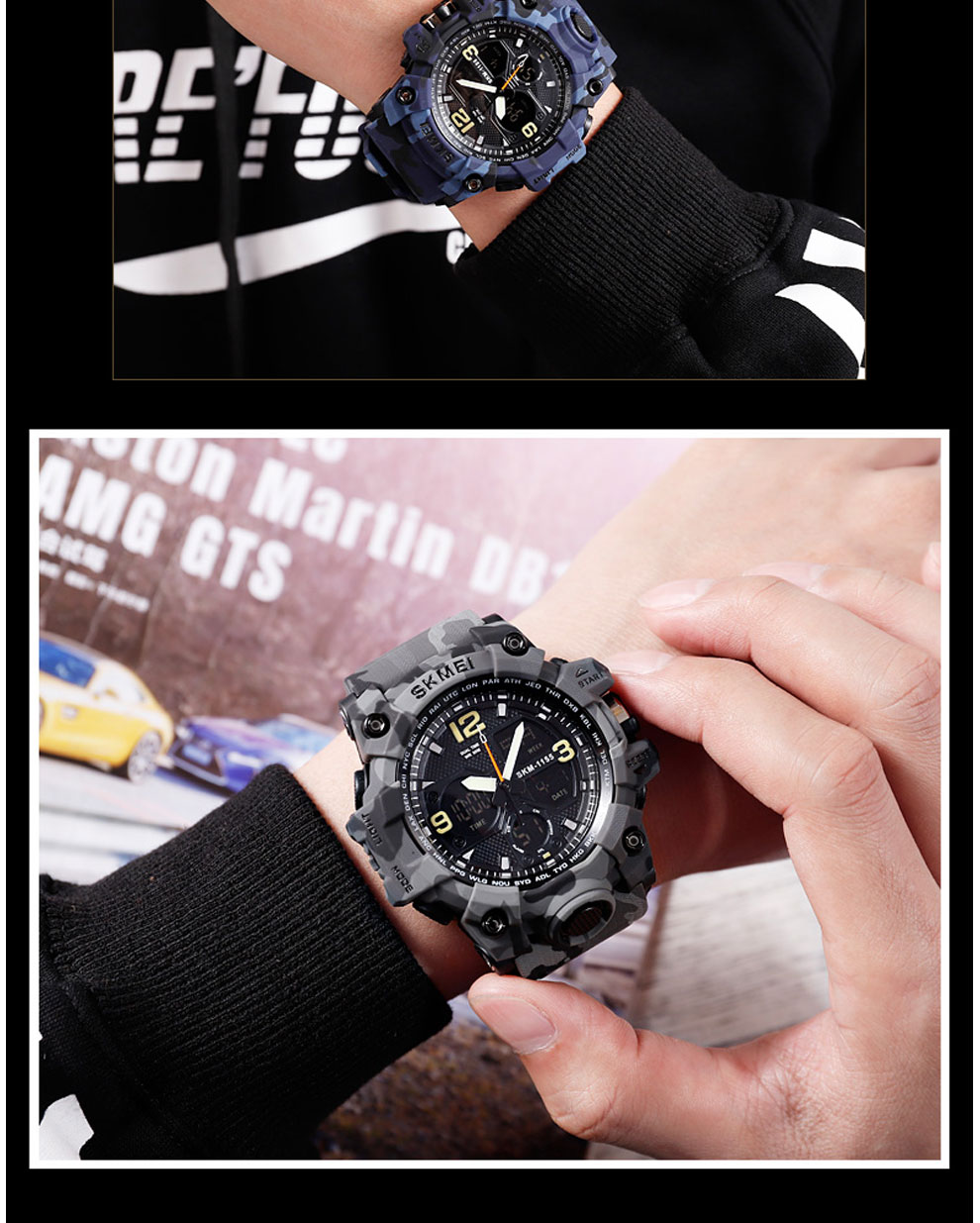 HTB1Li8CRsfpK1RjSZFOq6y6nFXaa SKMEI Brand Luxury Military Sports Watches Men Quartz Analog LED Digital Clock Man Waterproof Dual Display Wristwatches Relogio